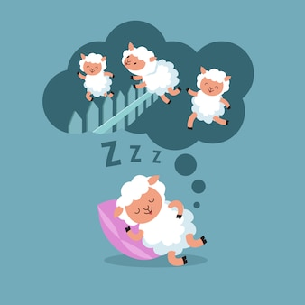 Schafe zählen, um nachts zu schlafen. springendes lamm zur glücklichen traumkarikatur-vektorillustration