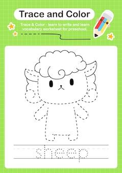 Schafspur und farbvorschularbeitsblattspur