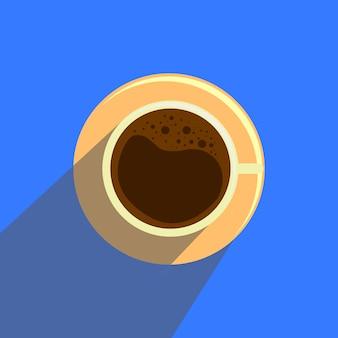 Schale mit kaffee in der flachen art auf blauem hintergrund.