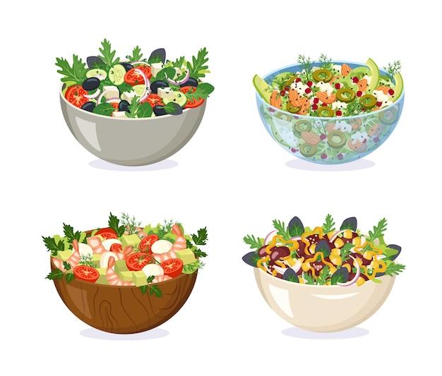 Schalen aus verschiedenen materialien mit hausgemachtem salat. geschnittene gemüsekräuter und gesunde zutaten