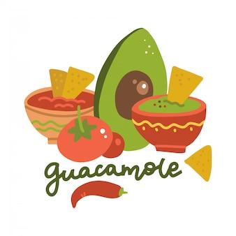 Schalen mit avocado-guacamole-dip, tomatensalsa und nachos-chips. seitenansicht. traditionelle mexikanische küche. karikatur flache artillustration mit beschriftung.