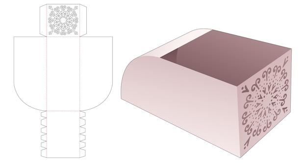 Schalenbox mit geschwungener fasenform und schablone mit mandala-stanzung