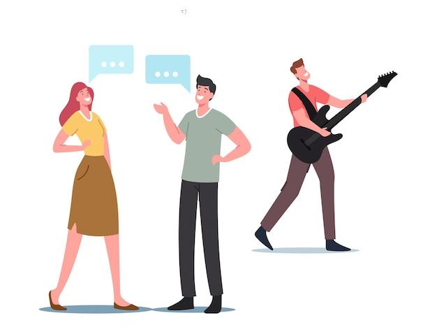 Schallfrequenz-wellen-konzept. männliche und weibliche charaktere kommunizieren, musiker spielen e-gitarre und machen hörbare audiomelodien, geräusche und schallwellenresonanz. cartoon-menschen-vektor-illustration