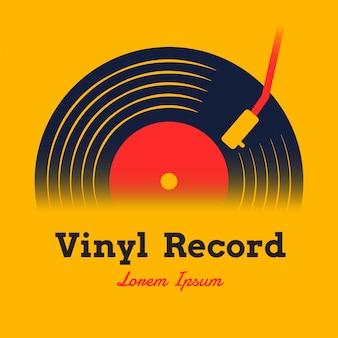 Schallplattenmusikillustration mit gelbem hintergrund