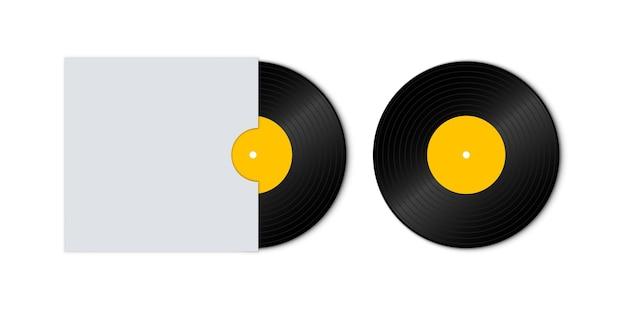 Schallplattenscheibe mit gelbem etikett. schallplatte mit cover-modell. alte technologie, realistisches retro-design. vorderansicht. disco-party.