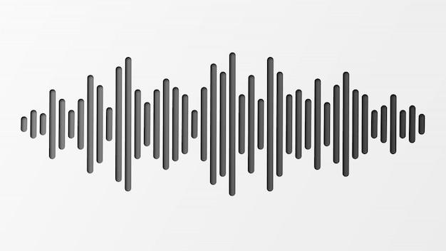 Schallwelle mit nachahmung des schalls. audio-identifikationstechnologie.