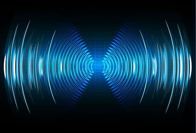 Schallwellen, die dunkelblaues licht oszillieren