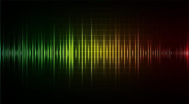 Schallwellen, die dunkelgrünes gelbes rotes licht oszillieren