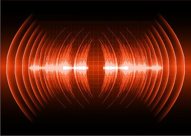 Schallwellen, die dunkelrotes licht oszillieren