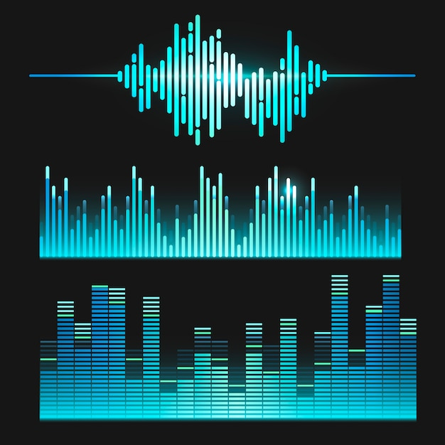 Schallwellen-equalizer-vektordesignsatz