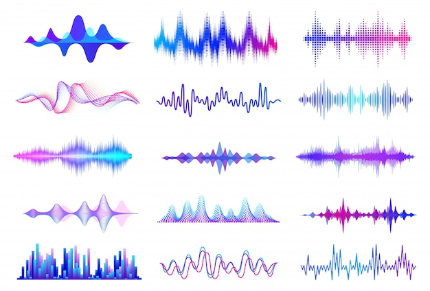 Schallwellen. frequenz-audio-wellenform, musikwellen-hud-schnittstellenelemente, voice-graph-signal. audio wave set