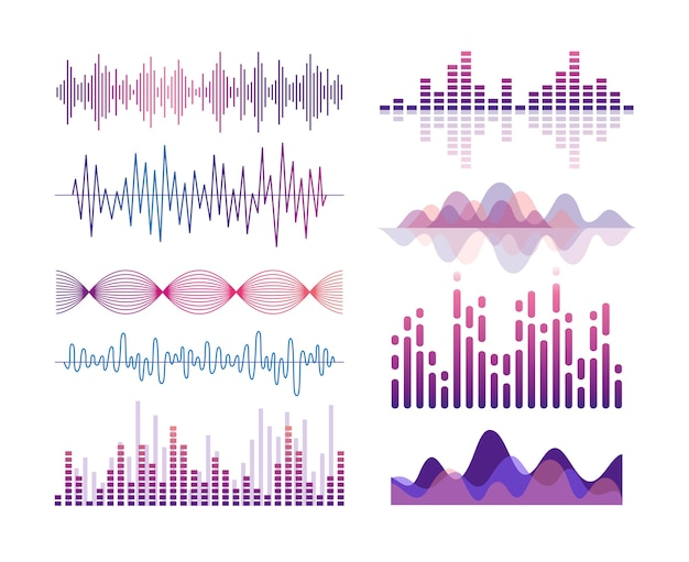 Schallwellen gesetzt. visualisierung von audioeffekten. musik-player-equalizer. lied, stimmschwingung