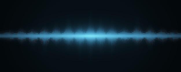 Schallwellen mit halbtoneffekt. abstrakter hintergrund mit musik-equalizer. musikalischer puls