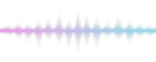 Schallwellen mit halbtoneffekt. musik-equalizer für clubparty, kneipe, konzert. musikalischer puls