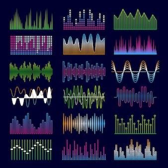 Schallwellen. musiksymbole equalizer formen signalisieren voicepulse-vorlagen.