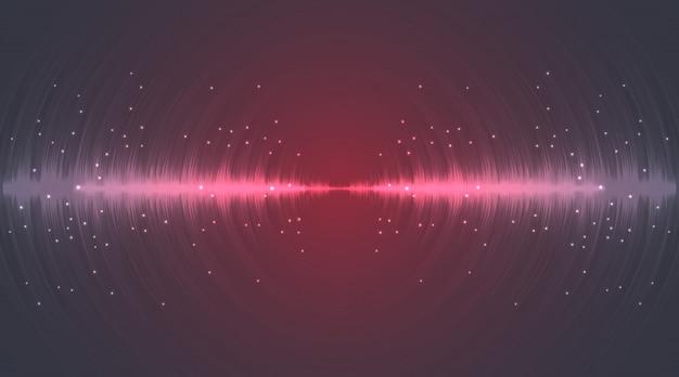 Schallwellen-neonblitzlinien in grau und rot auf gradientenhintergrund