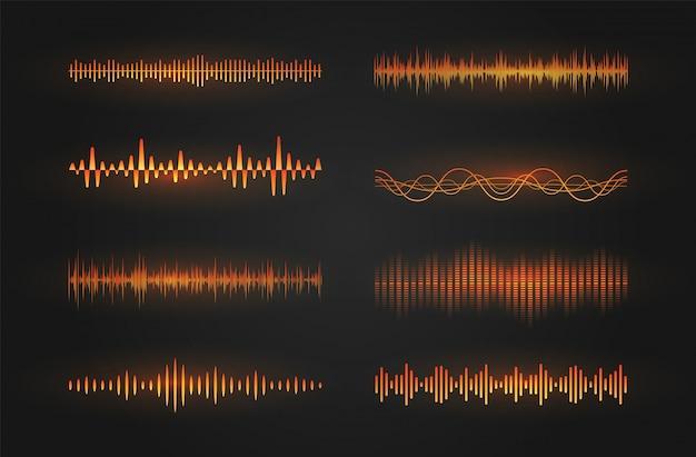 Schallwellen-symbolsatz. leuchtende linien, die eine schall- oder radiowelle, einen musikentzerrer oder ein digitales kardiogramm darstellen, gui-gestaltungselementvorlage. isolierte illustration.