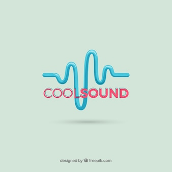 Schallwellenlogo mit flachem design