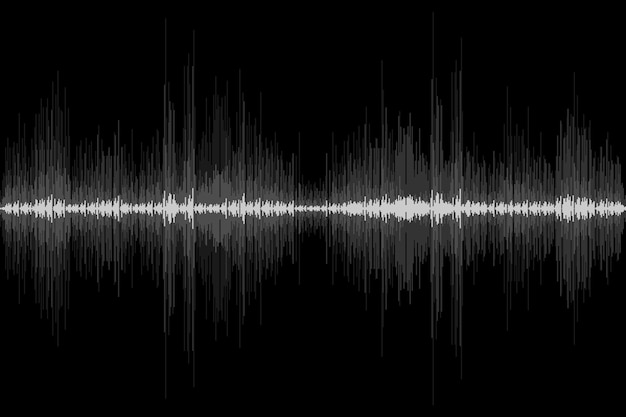 Schallwellenrhythmus auf schwarzem hintergrund abstrakte bewegung audiosignal symbol vektor-illustration
