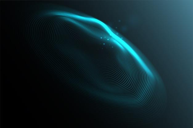 Schallwellenvisualisierung. abstrakte fließende wellenoberfläche von kreislinien. technologie, big data, wissenschaft.