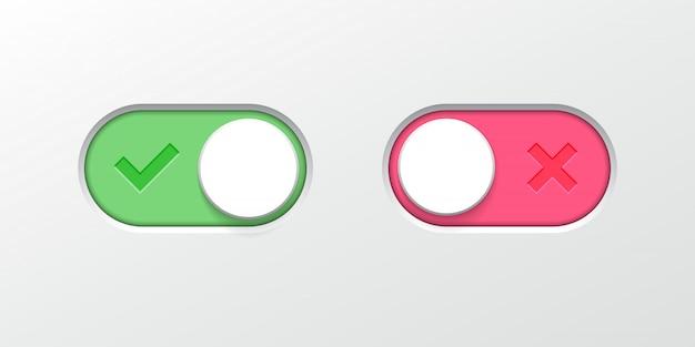Schalten sie die schaltflächenschalter-schieberegler-web-ui-symbole um