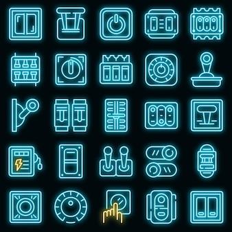 Schaltersymbole eingestellt. umrisse von unterbrecherschalter-vektorsymbolen neonfarbe auf schwarz