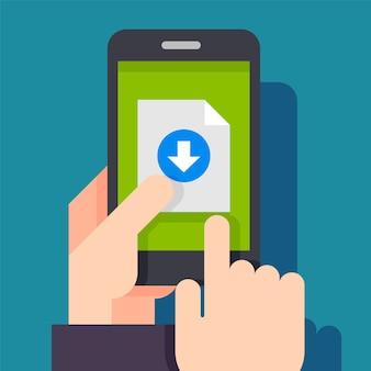 Schaltfläche zum herunterladen von dateien auf dem smartphone-bildschirm.
