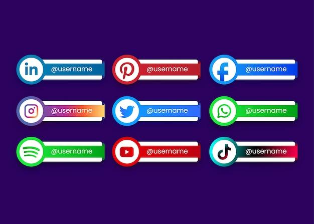 Schaltflächen für die sammlung sozialer medien