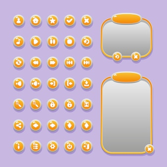 Schaltflächen, symbole und menüfenster für die gestaltung der benutzeroberfläche von spielen für spiele und apps