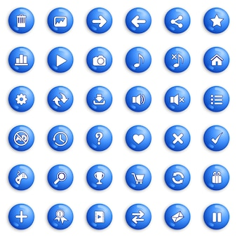 Schaltflächen- und symbolsatzdesign für spiel- oder webfarbe blau.