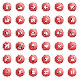 Schaltflächen- und symbolsatzdesign für spiel- oder webfarbe rot.