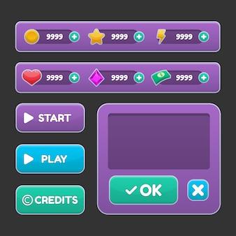 Schaltflächenset gestaltete gui-illustration der spielbenutzeroberfläche für videospielcomputer