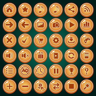 Schaltflächensymbol-satzdesign für spiel.
