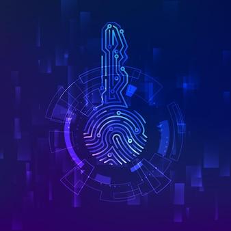 Schaltkreis-id-schlüssel. fingerabdruck-scanner. scannen sie biometrische fingerabdrücke, elektronische überprüfung und identifizierung. vektor-illustration