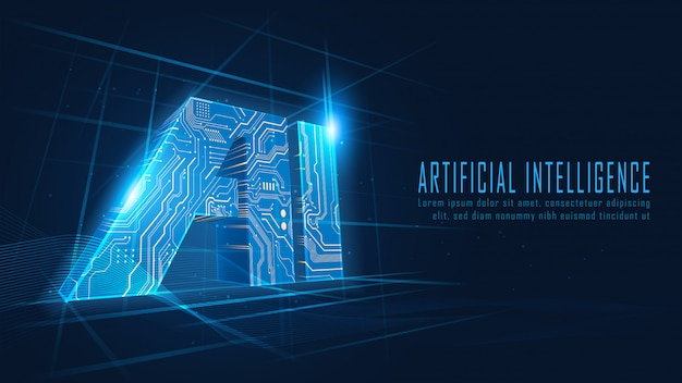 Schaltung der künstlichen intelligenz im futuristischen konzept