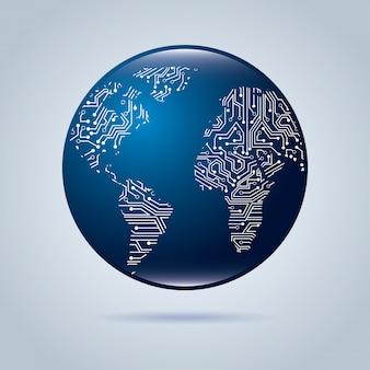 Schaltung kontinente über blauen hintergrund vektor-illustration