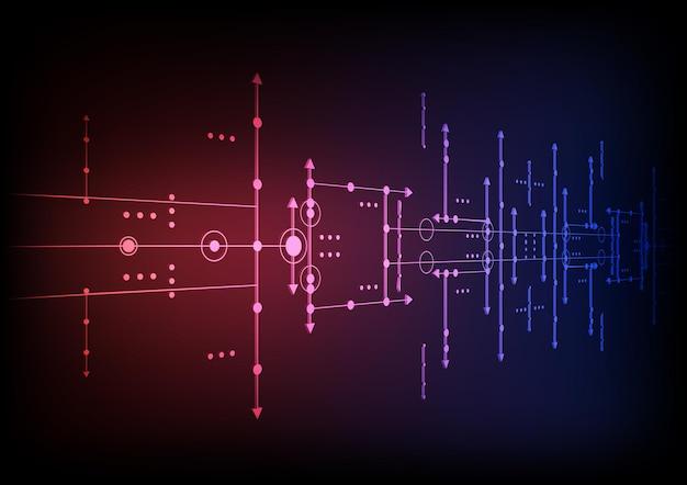 Schaltungstechnik-hintergrund mit digitalem datenverbindungssystem von hitech und elektronischem design