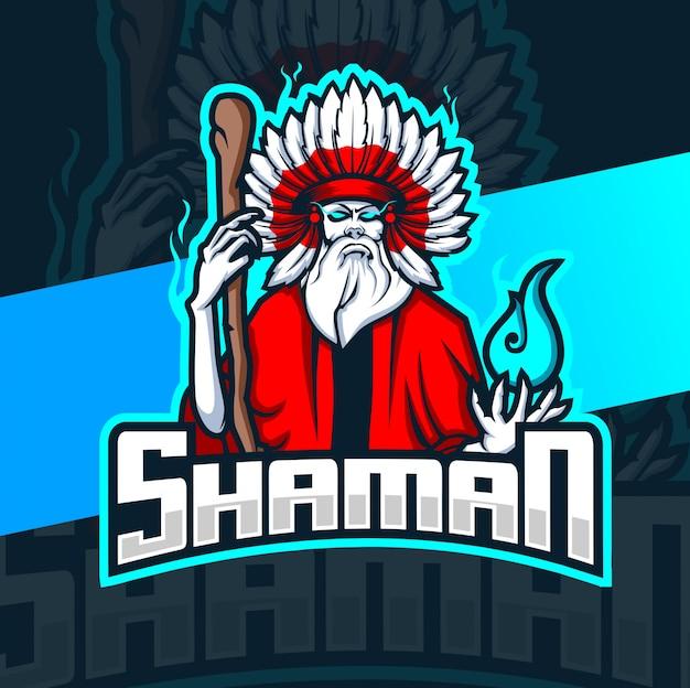 Schamane hexe maskottchen esport logo
