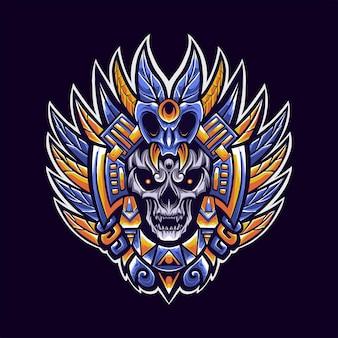 Schamanen-stammes-logo-maskottchen-illustration