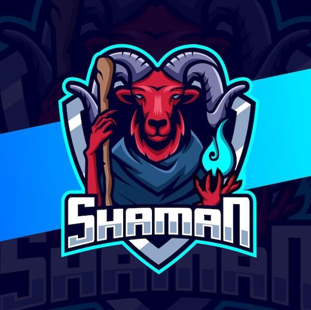 Schamanen widder ziege maskottchen esport logo design