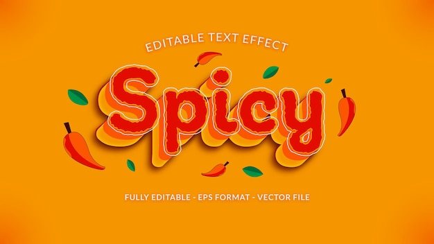 Scharf-würziger texteffekt mit chili- und blätter-ornament