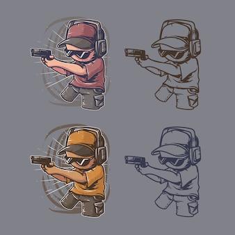 Scharfschützen-gaming-kunstwerk retro