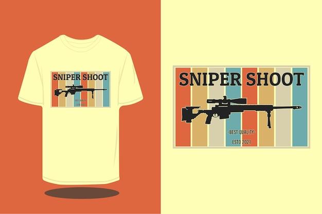 Scharfschützen-shooting-silhouette im retro-t-shirt-design