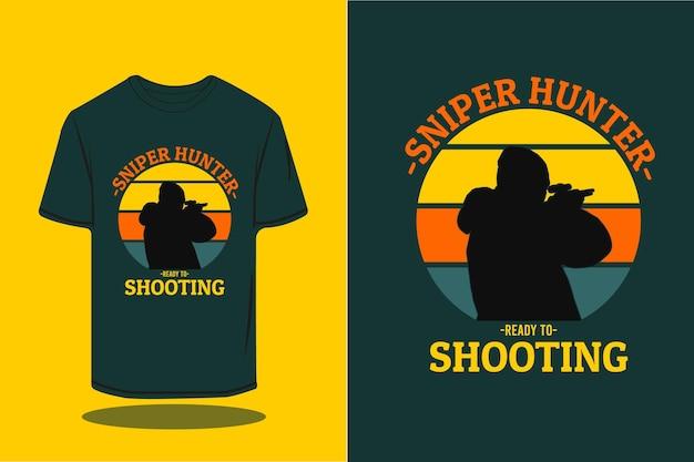 Scharfschützenjäger-silhouette im retro-t-shirt-design
