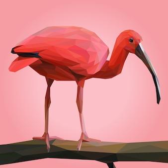 Scharlachrot ibis auf niederlassung lowpoly illustration