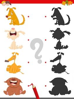 Schatten-lernspiel für kinder mit hunden