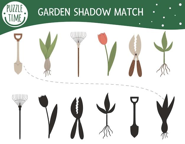 Schatten-matching-aktivität für kinder mit gartengeräten und jungpflanzen