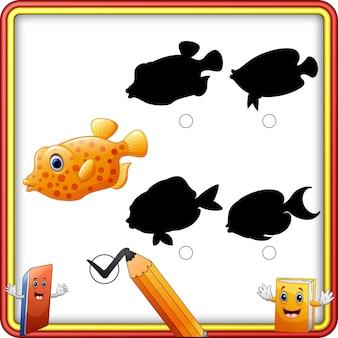 Schatten-matching von fisch cartoon