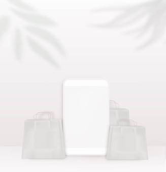 Schatten-overlay-effekt von palmzweigen und blättern szenenvorlage mit smartphone-kraft-geschenkpaket und blattschatten