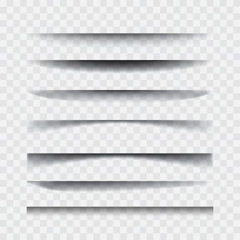 Schatten. transparenter realistischer papierschatten-effektsatz.
